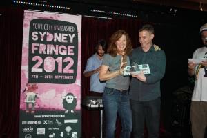 Lew Palaitis presents award Sydney Fringe 2012